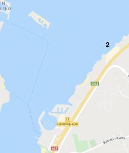Map met de kitesurf zone Harderwijk