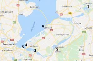 Kitespots aan de randmeren en in midden Nederland