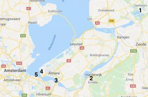Map met kiespots in midden Nederland